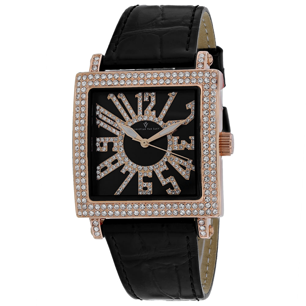 Ladies Black Lumina Leather Analogue Christian Van Sant Watch CV0245