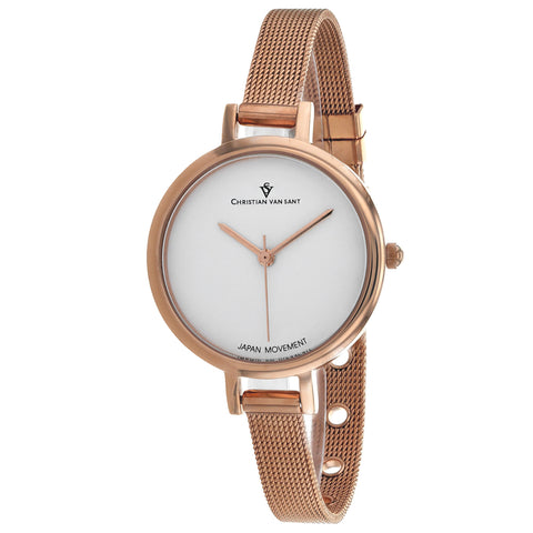 Ladies Rose Gold Grace Stainless Steel Analogue Christian Van Sant Watch CV0281