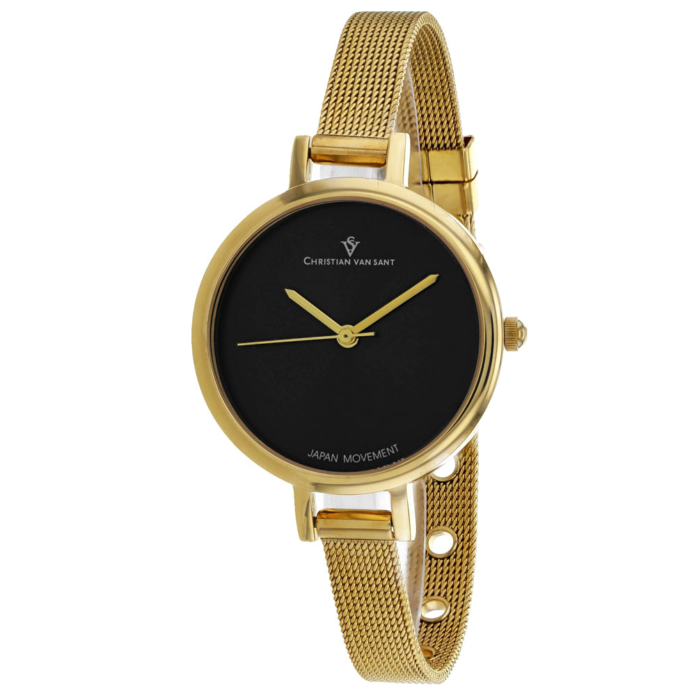 Ladies Gold Grace Stainless Steel Analogue Christian Van Sant Watch CV0284