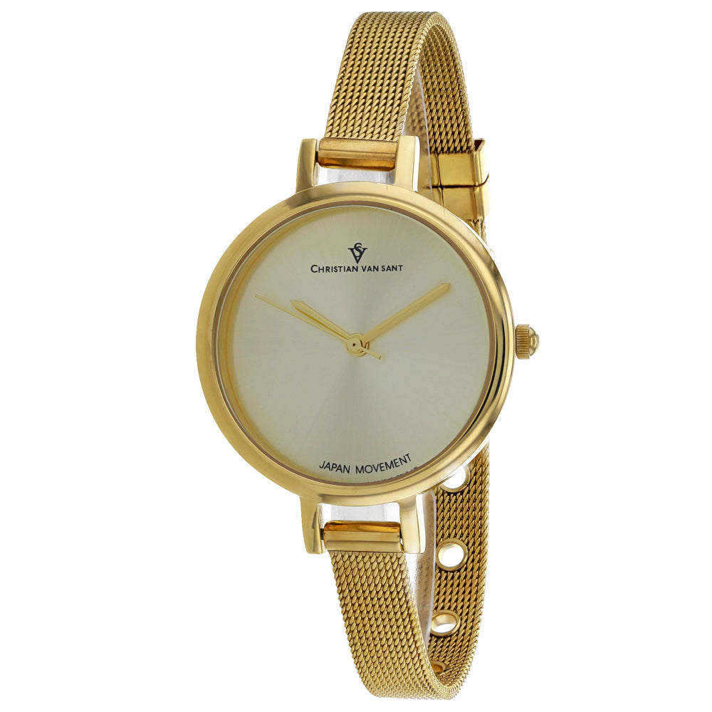 Ladies Gold Grace Stainless Steel Analogue Christian Van Sant Watch CV0285