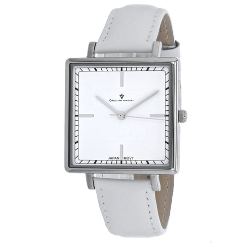 Ladies White Callista Leather Analogue Christian Van Sant Watch CV0410