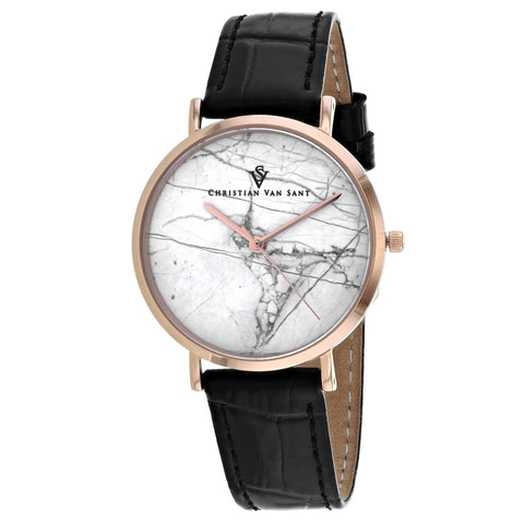 Ladies Black Lotus Leather Analogue Christian Van Sant Watch CV0422BK