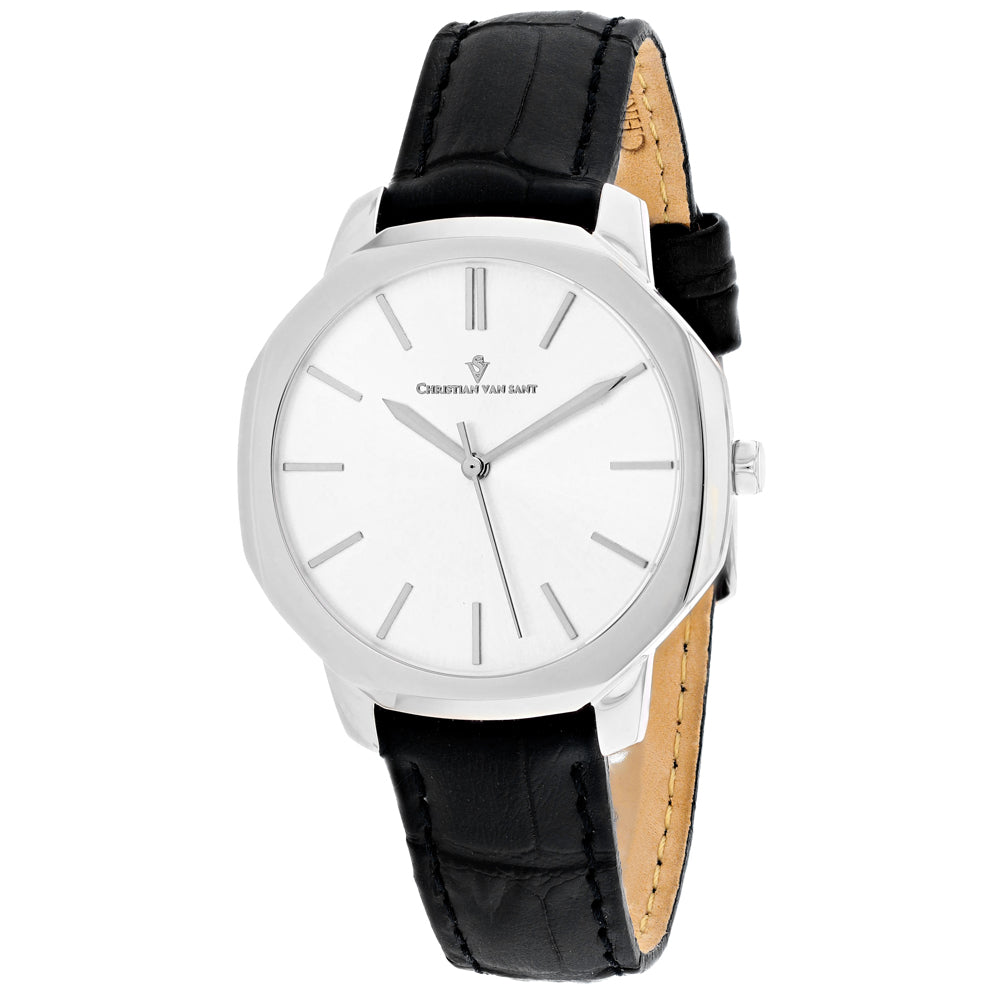 Ladies Black Octave Slim Leather Analogue Christian Van Sant Watch CV0501