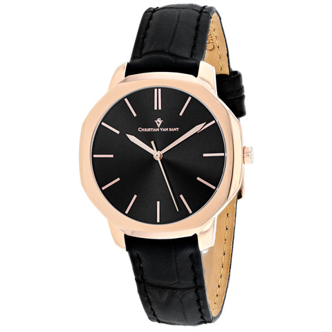 Ladies Black Octave Slim Leather Analogue Christian Van Sant Watch CV0504