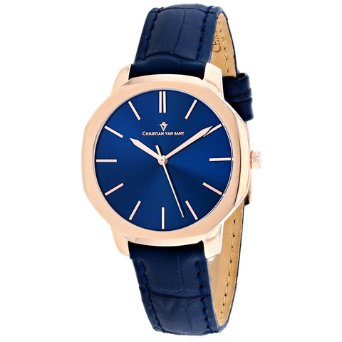 Ladies Blue Octave Slim Leather Analogue Christian Van Sant Watch CV0505