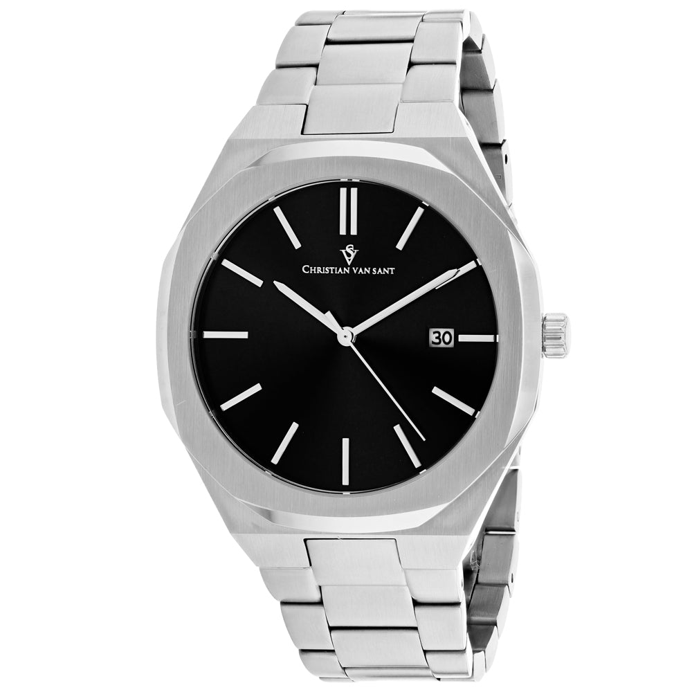 Men's Silver Octavius Slim Stainless Steel Analogue Christian Van Sant Watch CV0520
