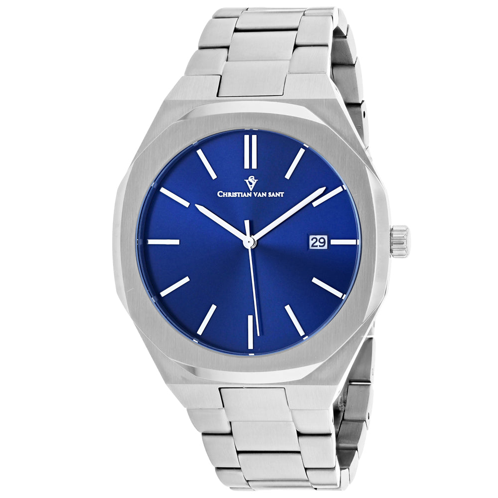 Men's Silver Octavius Slim Stainless Steel Analogue Christian Van Sant Watch CV0522