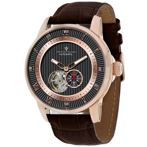 Men's Brown Viscay Leather Chronograph Christian Van Sant Watch CV0555