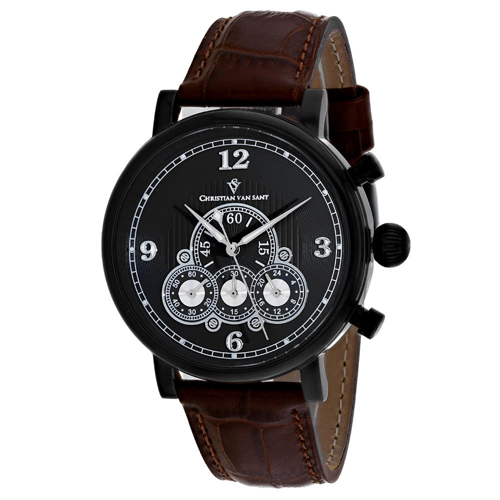 Men's Brown Dominion Leather Chronograph Christian Van Sant Watch CV0713