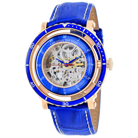 Men's Blue Dome Leather Chronograph Christian Van Sant Watch CV0742