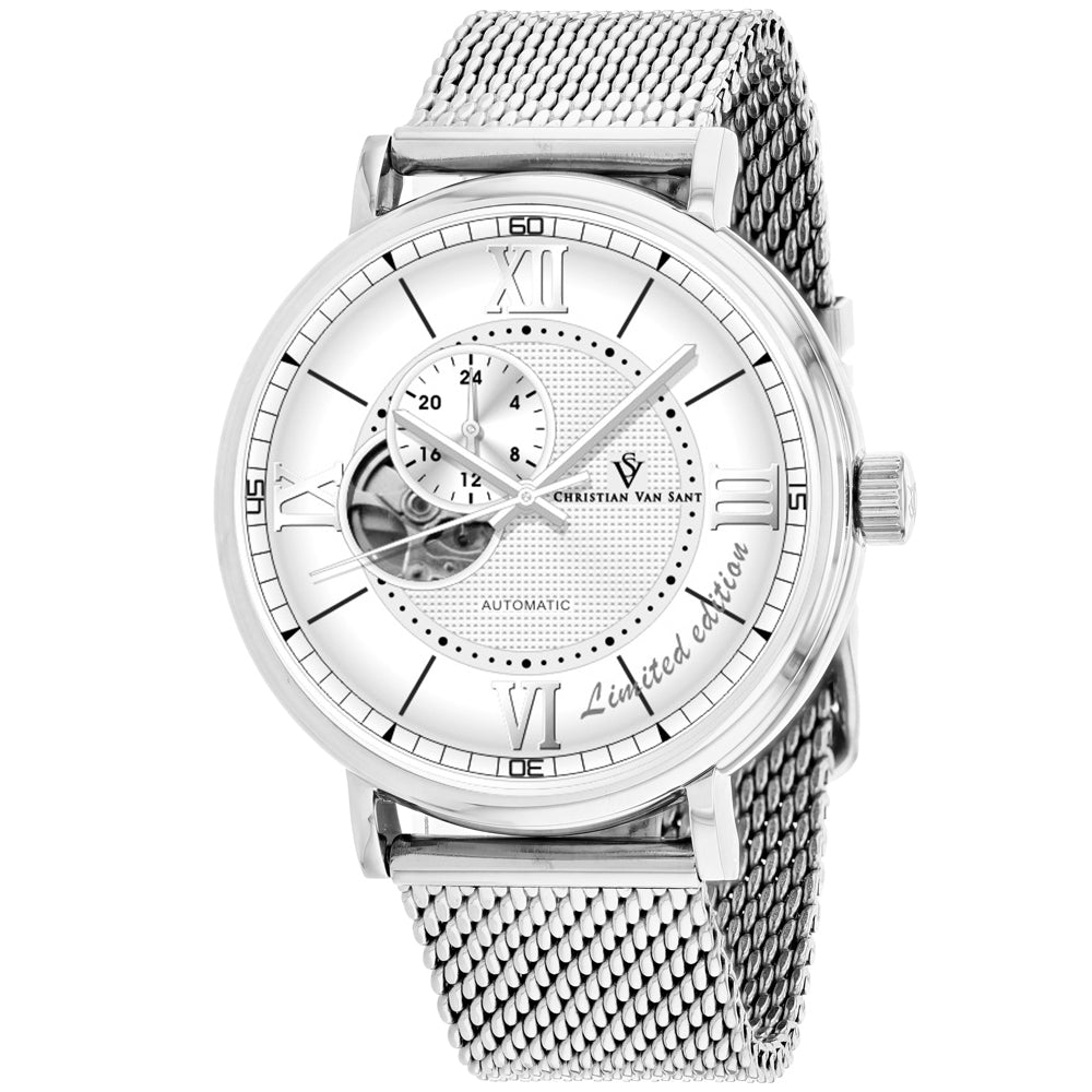 Men's Silver Somptueuse Stainless Steel Mesh Chronograph Christian Van Sant Watch CV1140