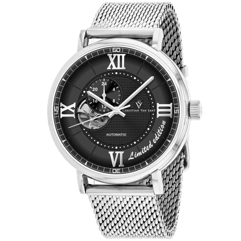 Men's Silver Somptueuse Stainless Steel Mesh Chronograph Christian Van Sant Watch CV1142