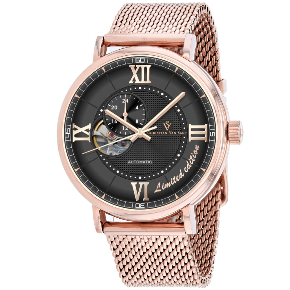 Men's Rose Gold Somptueuse Stainless Steel Mesh Chronograph Christian Van Sant Watch CV1146