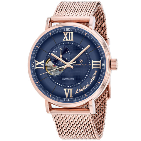 Men's Rose Gold Somptueuse Stainless Steel Mesh Chronograph Christian Van Sant Watch CV1147