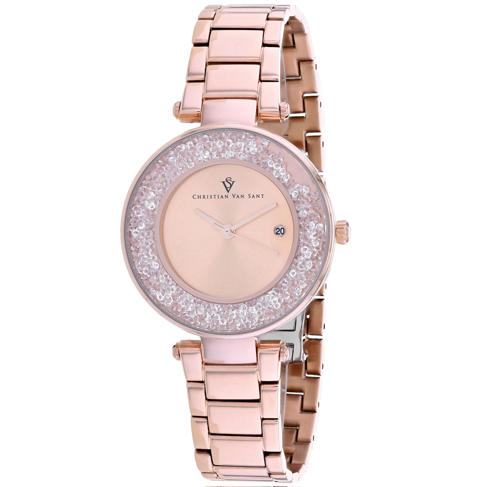 Ladies Rose Gold Dazzle Stainless Steel Analogue Christian Van Sant Watch CV1214