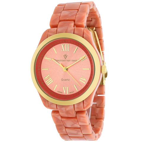Ladies Marble Pink Granite Plastic Strap Analogue Christian Van Sant Watch CV3413