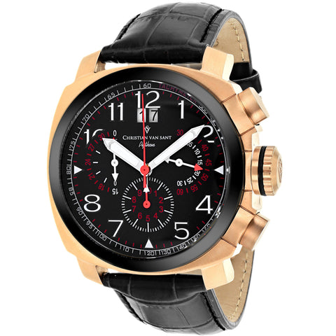 Men's Black Grand Python Leather Chronograph Christian Van Sant Watch CV3AU11