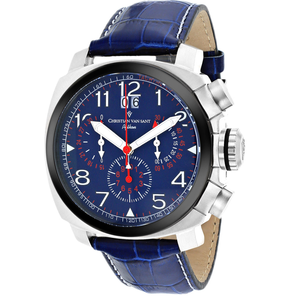 Men's Blue Grand Python Leather Chronograph Christian Van Sant Watch CV3AU3