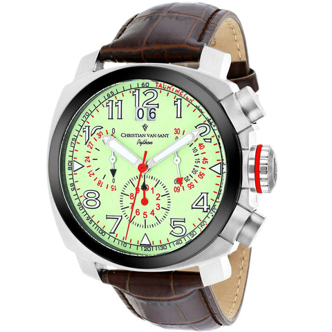 Men's Brown Grand Python Leather Chronograph Christian Van Sant Watch CV3AU6