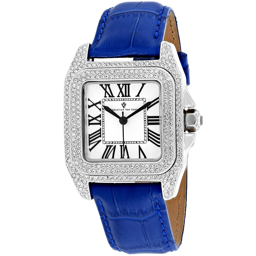 Ladies Blue Radieuse Leather Analogue Christian Van Sant Watch CV4422