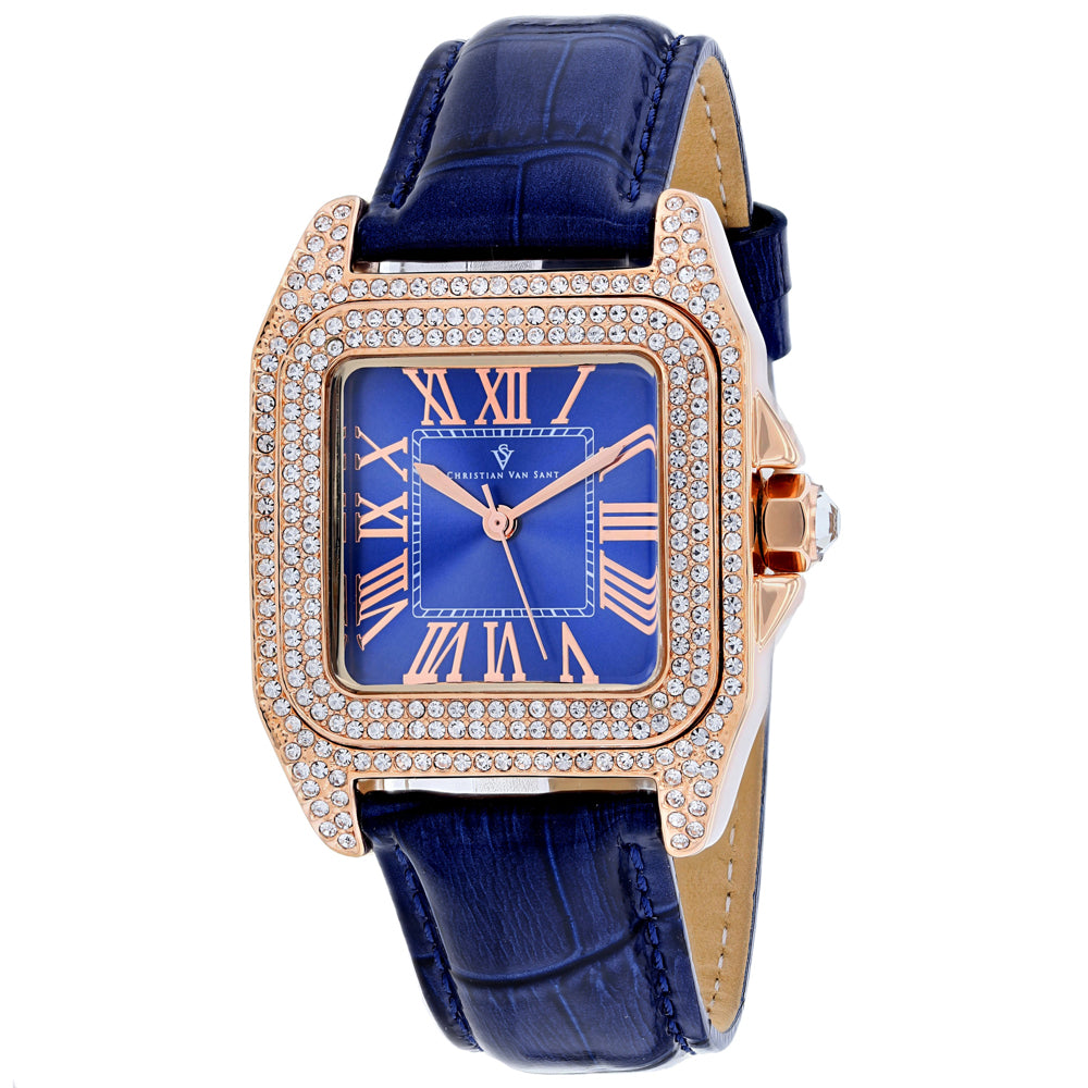 Ladies Blue Radieuse Leather Analogue Christian Van Sant Watch CV4427