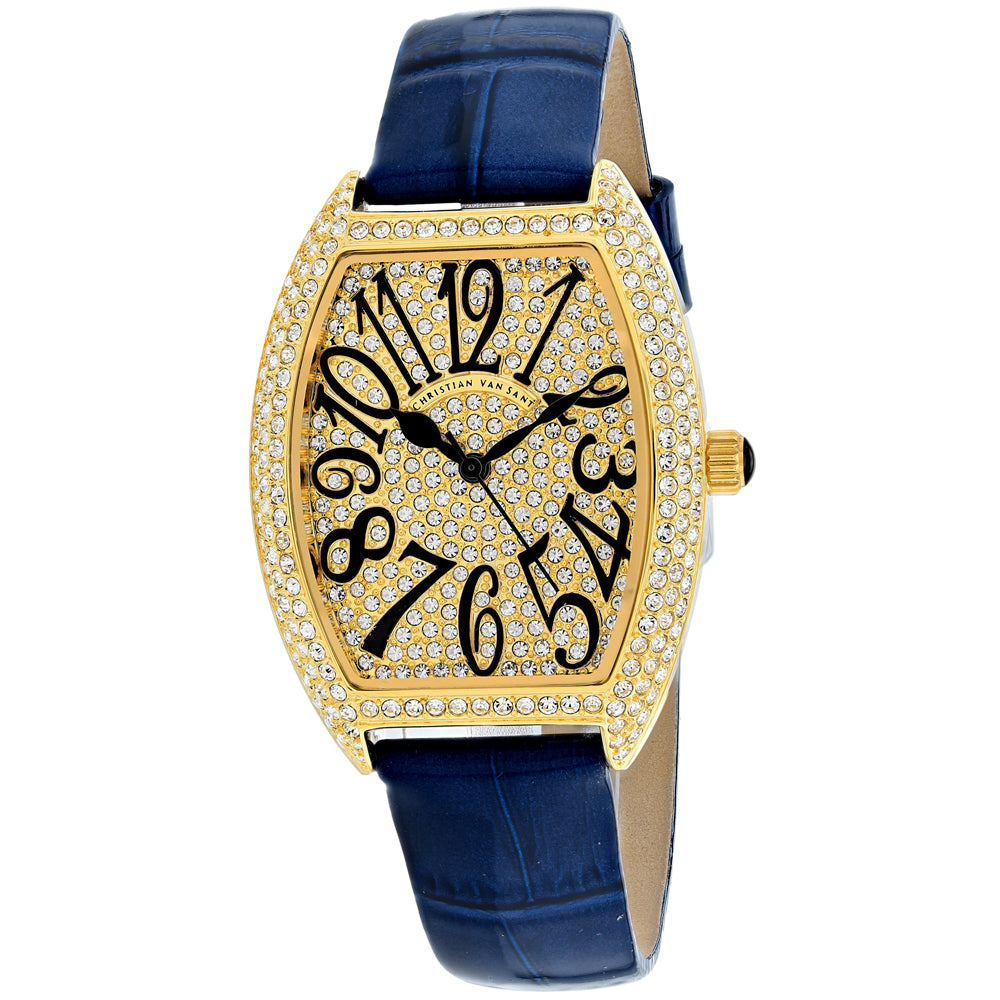 Ladies Blue Twinkle Leather Analogue Christian Van Sant Watch CV4820-BL