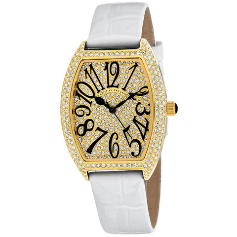 Ladies White Twinkle Leather Analogue Christian Van Sant Watch CV4820-WH