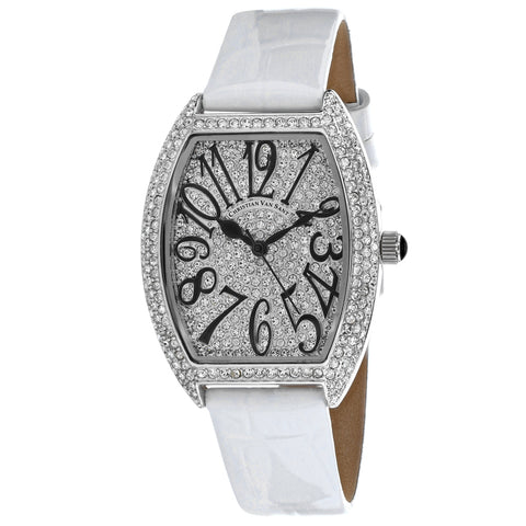 Ladies White Elegant Leather Analogue Christian Van Sant Watch CV4821W
