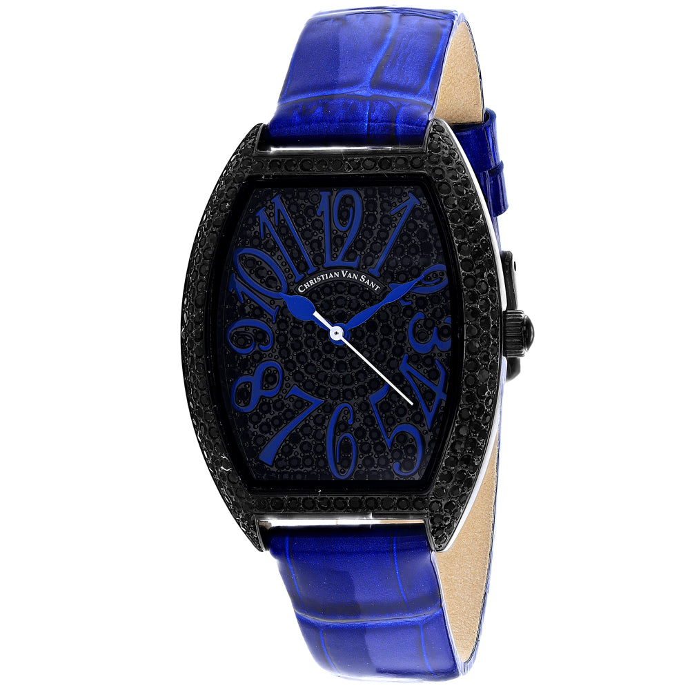 Ladies Blue Elegant Leather Analogue Christian Van Sant Watch CV4824