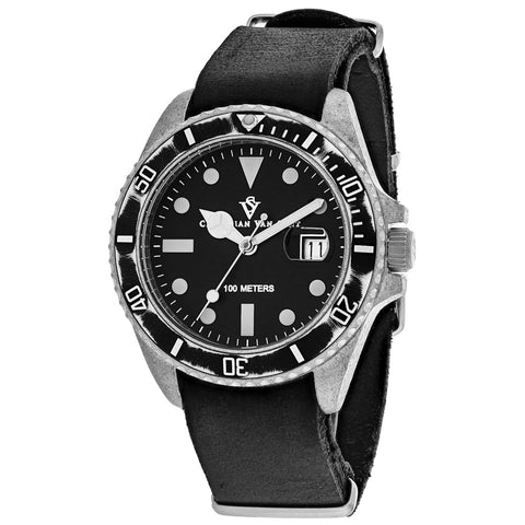 Men's Black Montego Vintage Distressed Stainless Steel Analogue Christian Van Sant Watch CV5200
