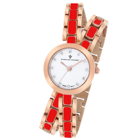 Ladies Rose Gold/Red Spiral Stainless Steel Analogue Christian Van Sant Watch CV5614