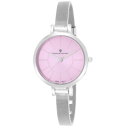 Ladies Silver Skinny Mesh Strap Analogue Christian Van Sant Watch CV6612