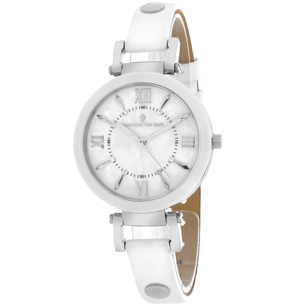 Ladies White Petite Leather Analogue Christian Van Sant Watch CV8161