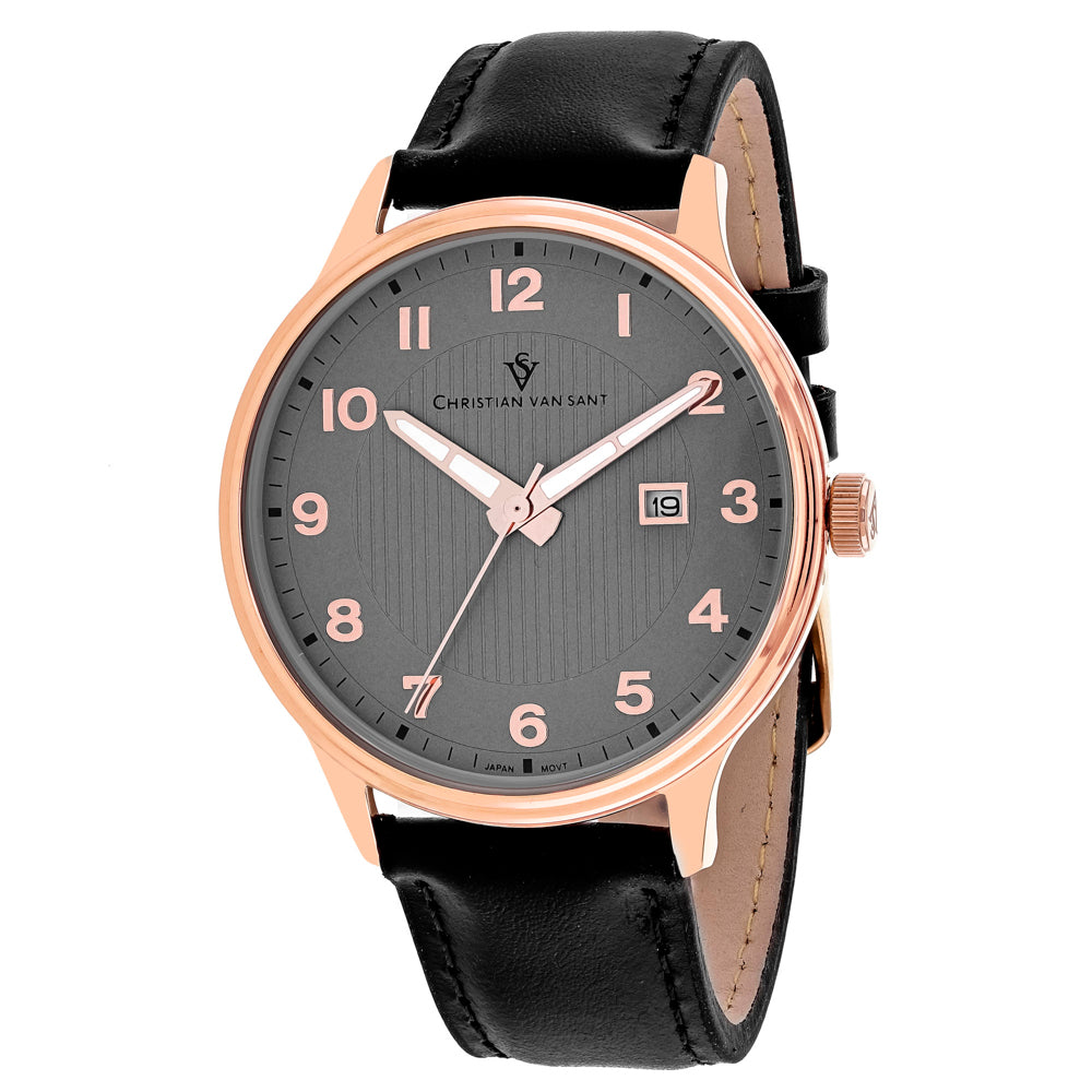 Men's Black Montero Leather Analogue Christian Van Sant Watch CV9810
