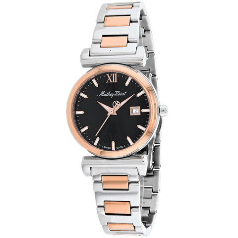 Ladies Silver-Rose Gold Elegance Stainless Steel Analogue Mathey Tissot Watch D410BN