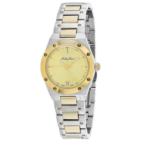 Ladies Silver-Gold Eliser Stainless Steel Analogue Mathey Tissot Watch D680BDI