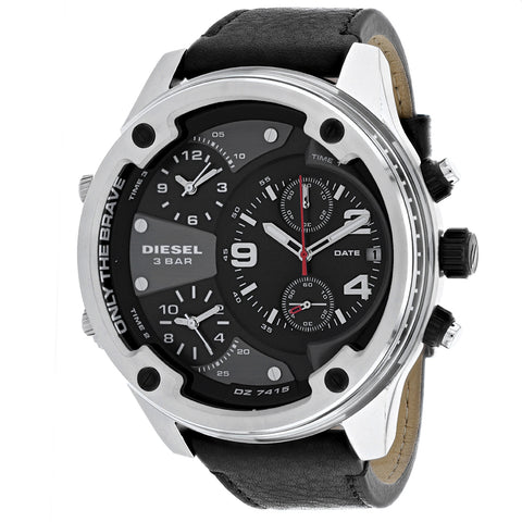 Men's Black Boltdown Leather Chronograph Diesel Watch DZ7415