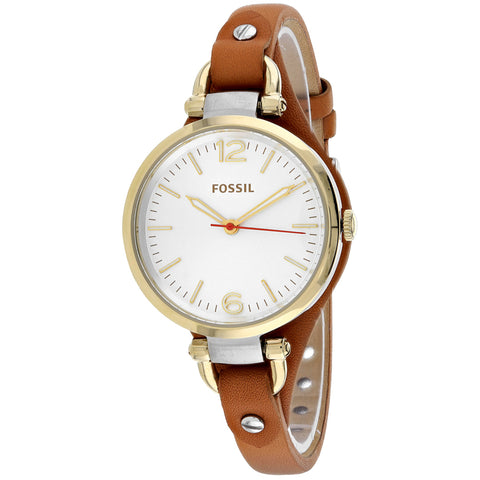 Ladies Brown Georgia Leather Analogue Fossil Watch ES3565
