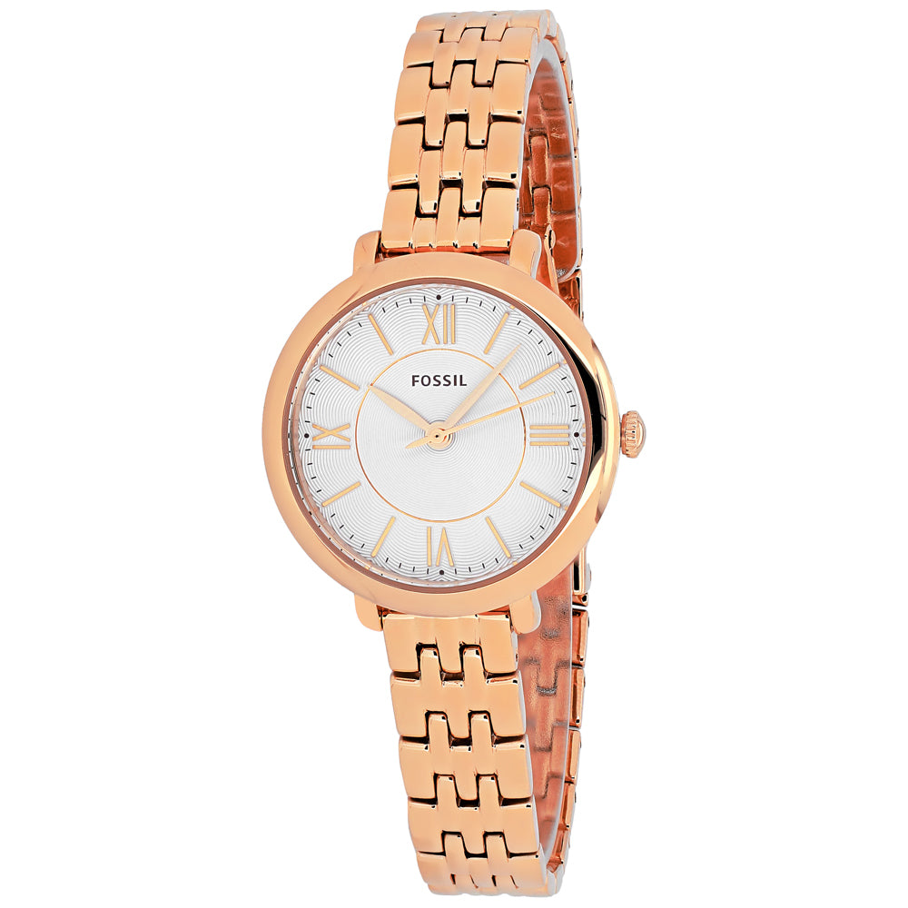 Ladies Rose Gold Jacqueline Mini Stainless Steel Analogue Fossil Watch ES3799
