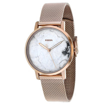 Ladies Rose Gold Neely Stainless Steel Mesh Analogue Fossil Watch ES4404