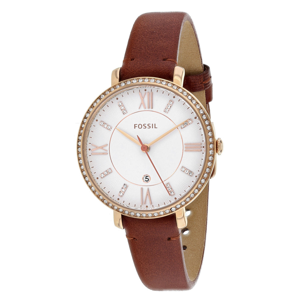 Ladies Brown Jacqueline Leather Analogue Fossil Watch ES4413