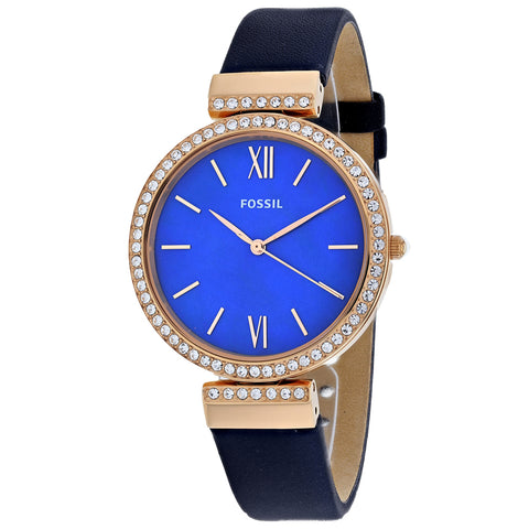 Ladies Blue Madeline Leather Analogue Fossil Watch ES4538