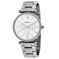 Ladies Silver Carlie Stainless Steel Chronograph Fossil Watch ES4541