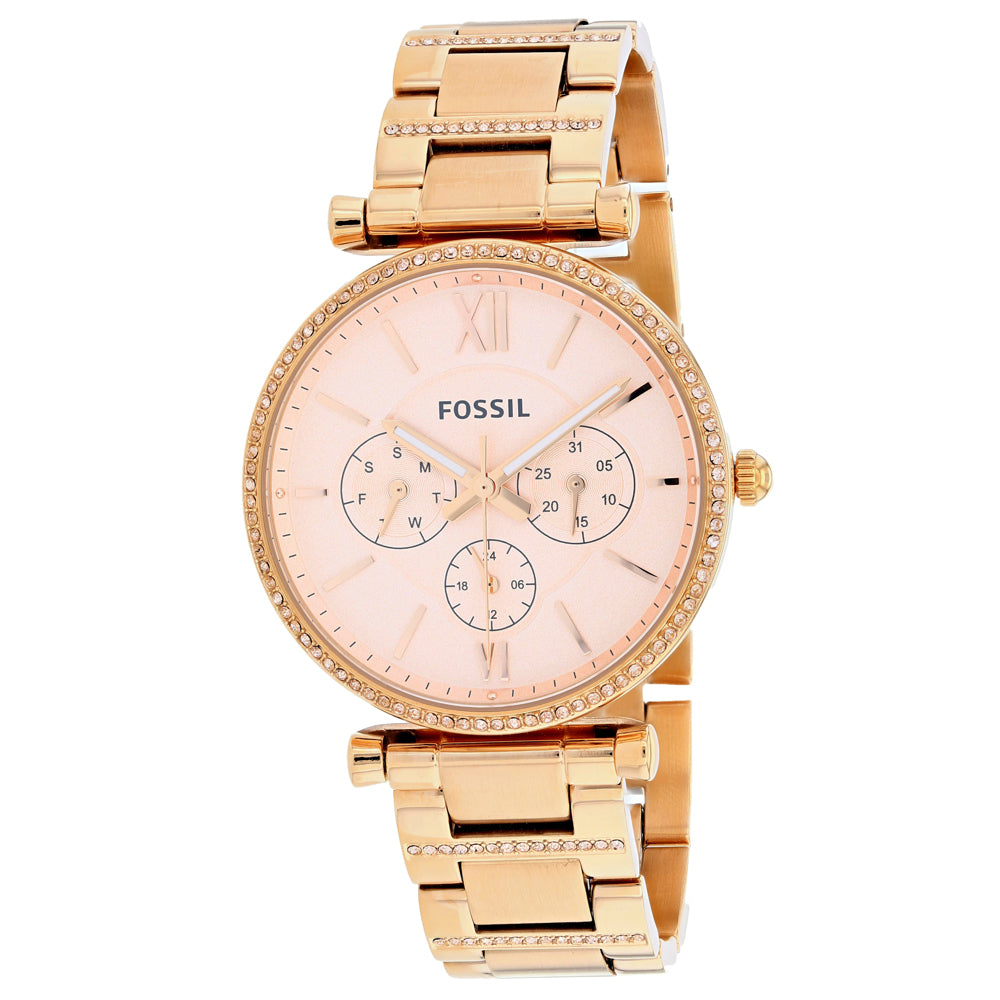Ladies Rose Gold Carlie Stainless Steel Chronograph Fossil Watch ES4542