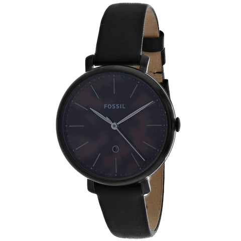 Ladies Black Jacqueline Leather Analogue Fossil Watch ES4632
