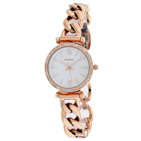 Ladies Rose Gold Carlie Stainless Steel Analogue Fossil Watch ES4688