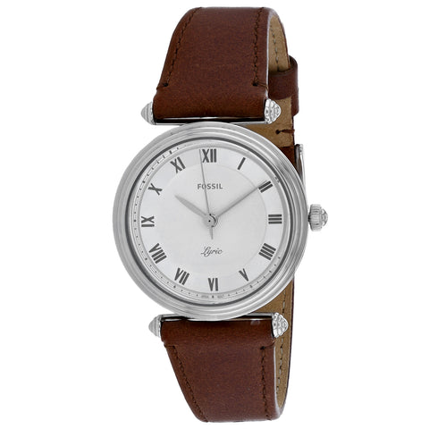 Ladies Brown Lyric Leather Analogue Fossil Watch ES4706