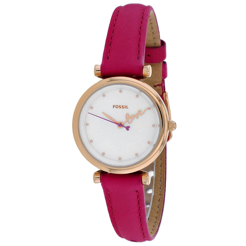 Ladies Pink Carlie Leather Analogue Fossil Watch ES4827