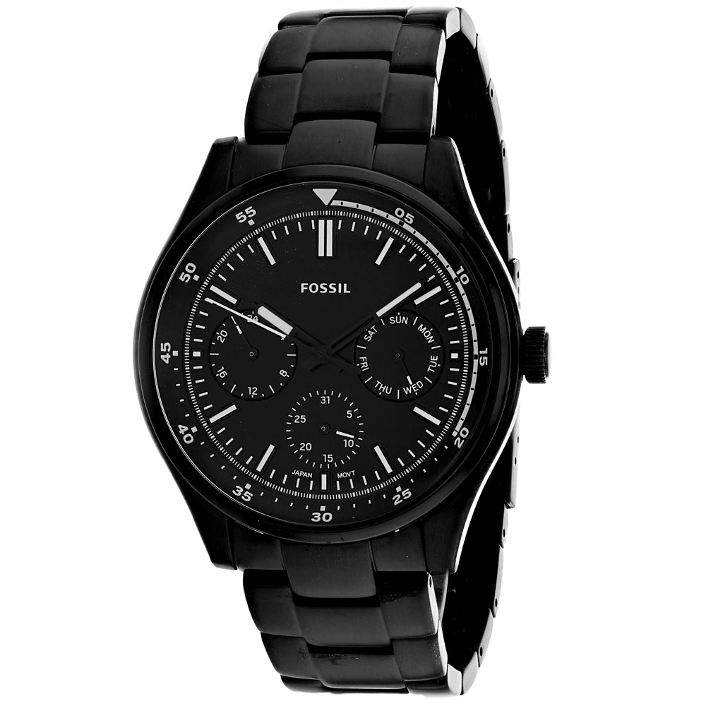 Men's Black Belmar Stainless Steel Chronograph Fossil Watch FS5576