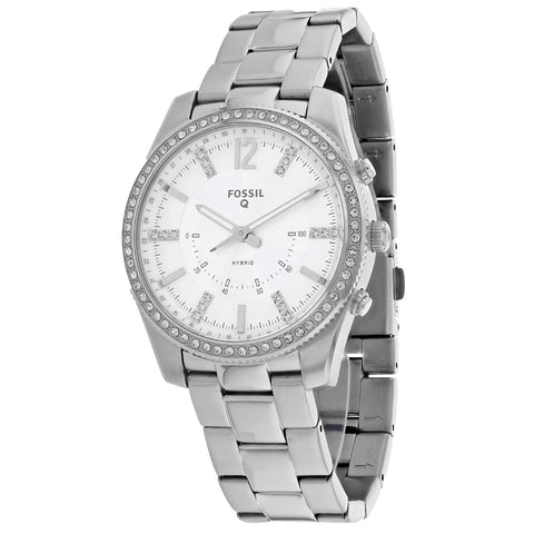 Ladies Silver Hybrid Smartwatch Q Scarlette Stainless Steel Analogue Fossil Watch FTW5015